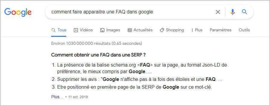 faq dans google